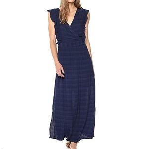 NWT Michael Stars Ruffle Maxi Dress Navy